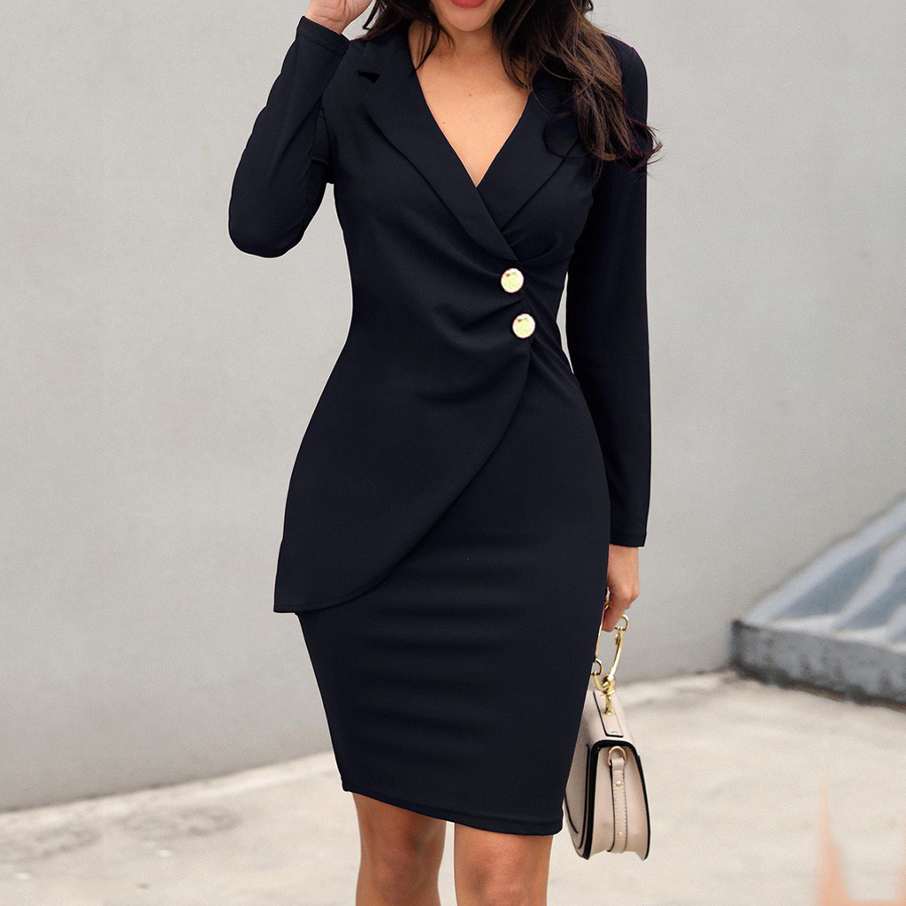 Autumn Dress Women Office Lady Sexy Solid Turn Down Neck Long Sleeve Buttons Bodycon Work Formal Dress Freeship Wholesale платье 5
