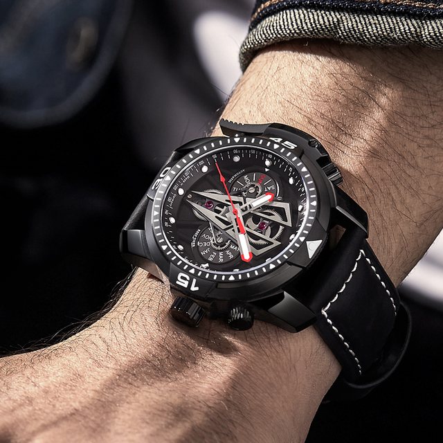 Reef Tiger/RT New Arrival All Black Brand Luxury Waterproof Wrist Watch Stainless Steel Chronograph Relogio Masculino RGA3591