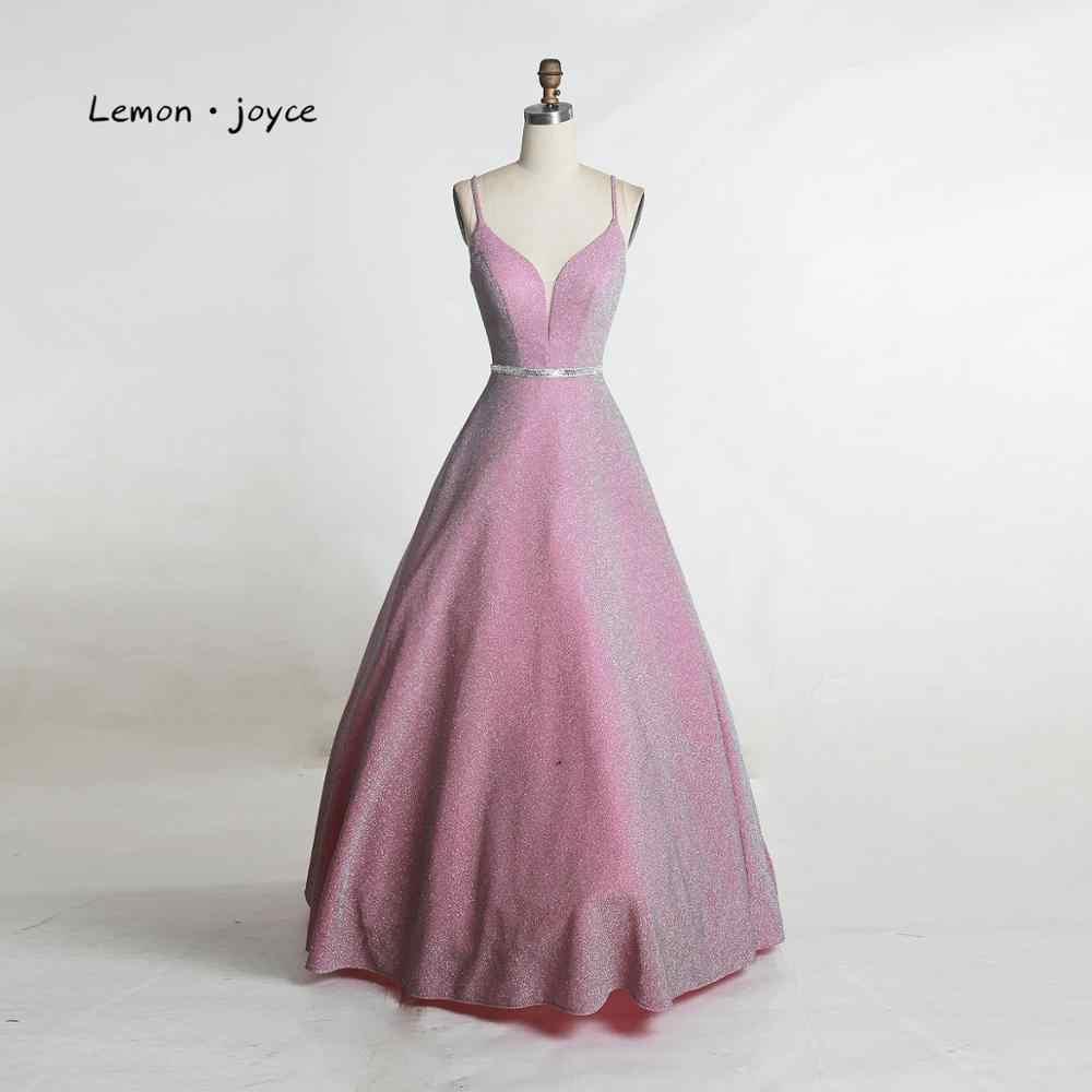 Lemon joyce элегантные платья для выпускного вечера 2020 с v-образным вырезом на шнуровке с открытой спиной Простые Вечерние платья размера плюс