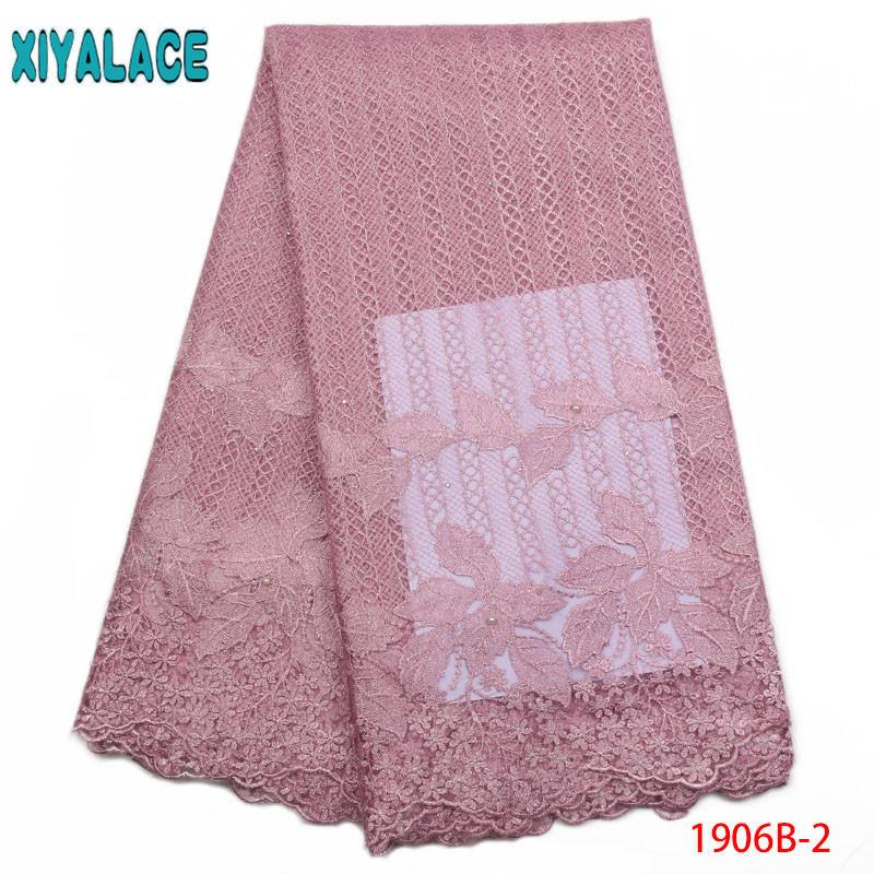Nigerian Lace Fabric 2019 High Quality Lace Embroidery Lace African Pink Lace Fabrics With Stones Beads KS1906B