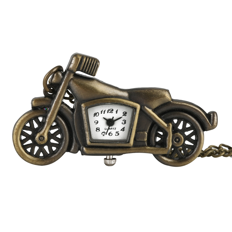 Special Motorcycle Pocket Watches For Men Vintage Bronze Thin Chain Pendant Necklace FOB Watch For Teenagers Racing Enthusiast