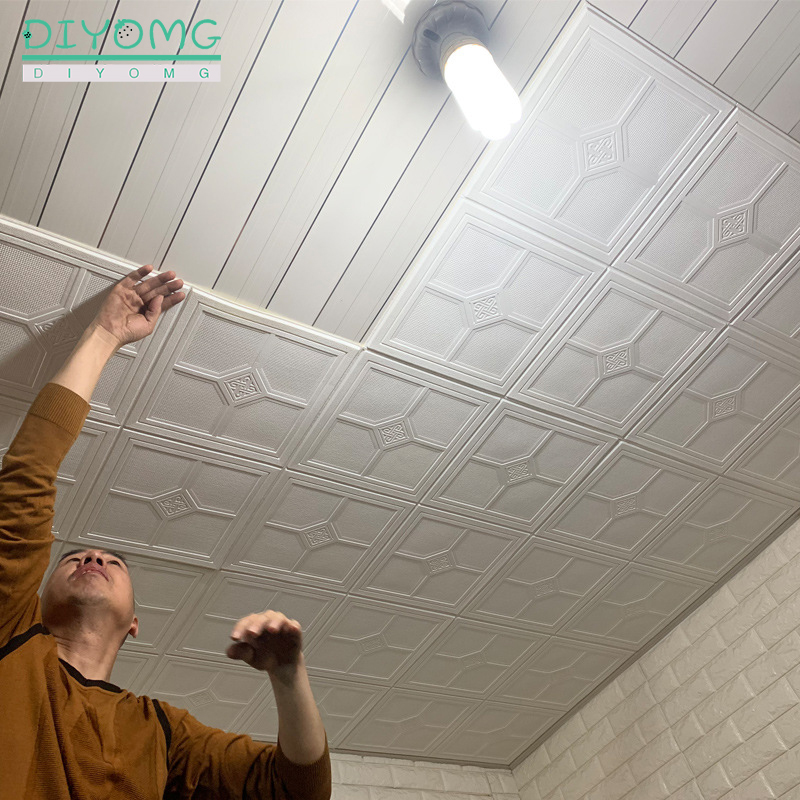 New Roof Decoration Wallpaper 3D Stereo PVC Waterproof Self-adhesive Wall Stickers Bedroom Roof Ceiling Contact Paper Decals