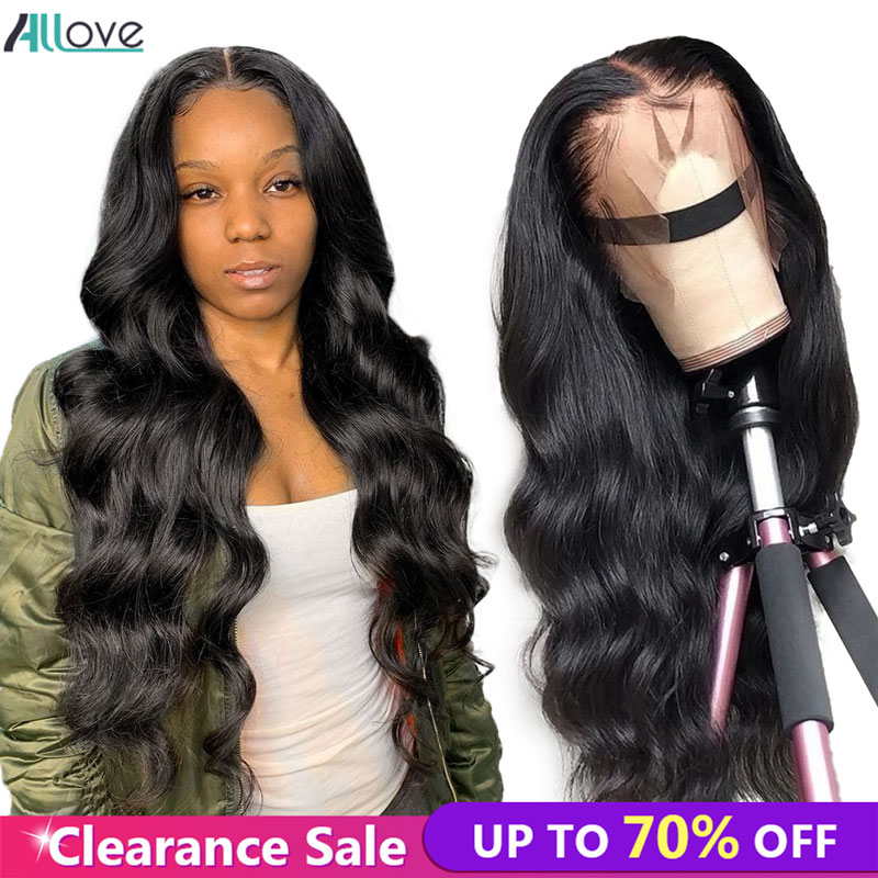 Allove Body Wave Human Hair Wigs 4X4 Lace Closure Wig 150% Peruvian Hair Wigs Pre Plucked Body Wave Lace Front Wigs For Women