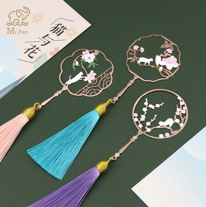 Retro Hollow Cherry Fan Metal Bookmark Cat And Flower Creative Rose Gold Bookmarks With Tassel Promotional Gift Stationery