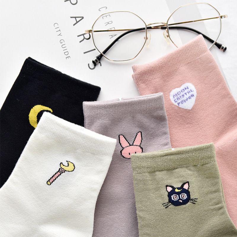 Women Solid Lovely Patterned Harajuku Socks Cotton Casual Cute Cat New Year Gift Socks For Female Sweat Absorption Breathable