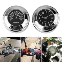 1 Set Universal 7/8 Waterproof Chrome Motorcycle Handlebar Mount Quartz Clock Watch Aluminum Luminous Moto Accessories