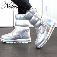 Female winter warm Silver white holographic short Ankle snow boot with Fake fur waterproof quilted shoe women 2019 girl Platform