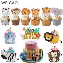 WEIGAO ספארי ג ונגל מסיבת בעלי החיים Cupcake Wrapper עוגת יום הולדת טופר עוגות מסיבת קישוט ילדי ילדה תינוק מקלחת ספקי
