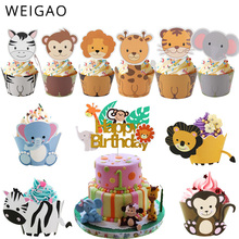 WEIGAO Safari Jungle Party Animal Cupcake Wrapper Cake Topper Birthday Cakes Party Decoration Kids Baby Shower Boy Girl Supplies