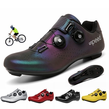 2020 nova estrada borracha-sola sapatos de ciclismo ultra-leve antiderrapante profissional auto-bloqueio sapatos esportes ao ar livre efeito fluorescente 1