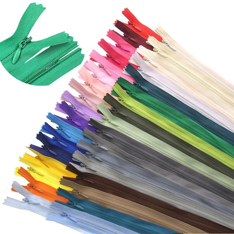 Застежки-молнии нейлоновые, 6-24 дюйма (15-60 см), 25 цветов, 10 шт.