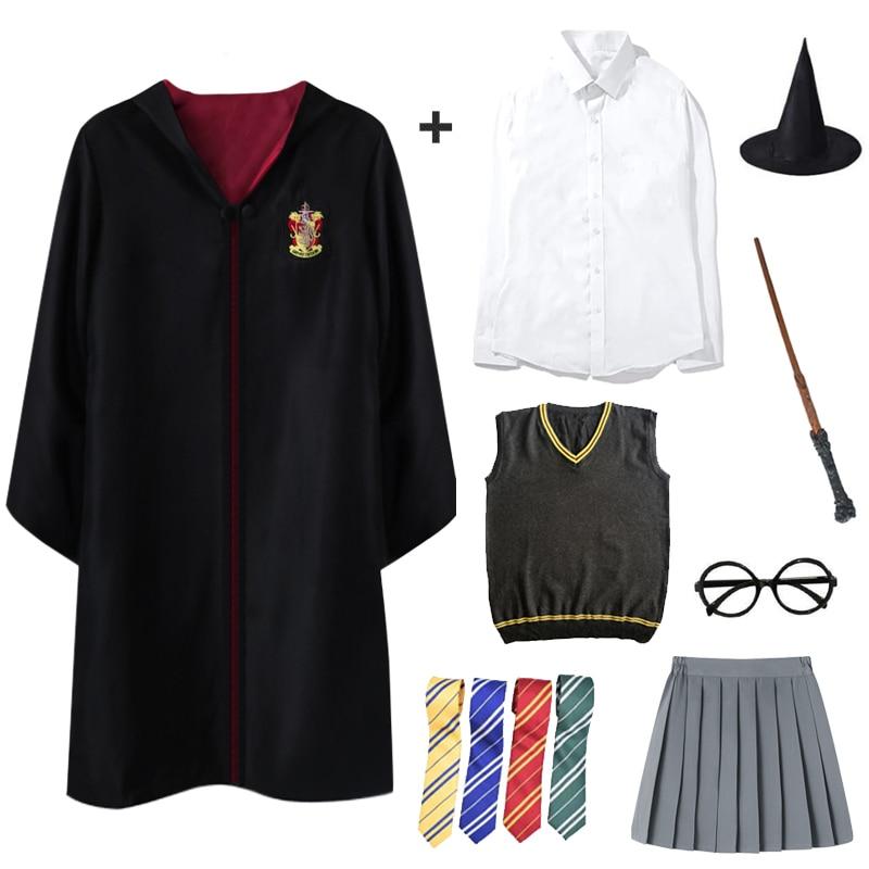 Adult Kids Gryffindor Cloak Cosplay Potter Costumes Shirt Ravenclaw Slytherin Robe Potter Costume Hermione School Uniform