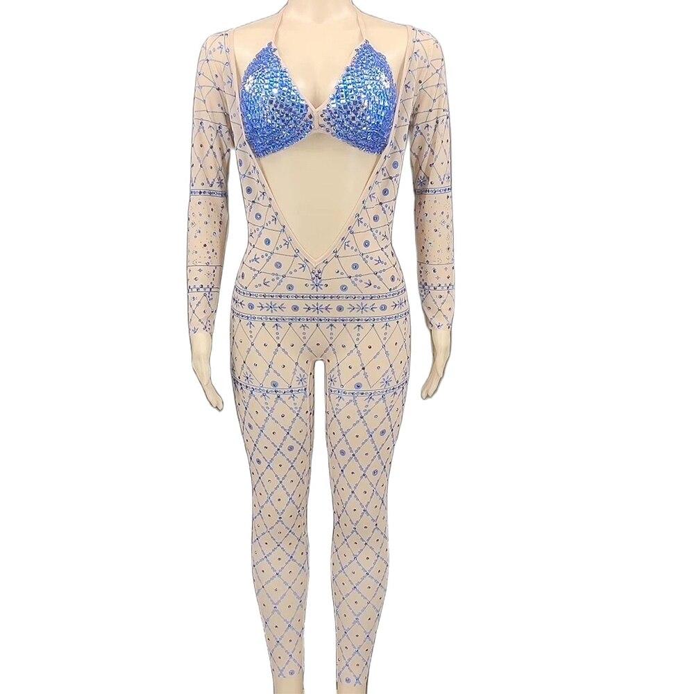 Shining Diamonds Halter Bra Print Women Mesh Perspective Tight Stretch Jumpsuit Two-Piece Set Nightclub Singer Dancer Stage Wear