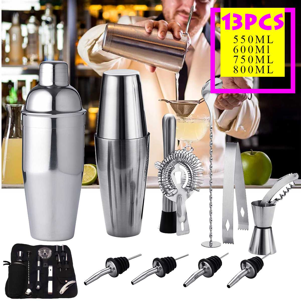 12/13pcs Professional American Style /British Cocktail Shaker Set Maker Mixer Stainless Steel Bar Bartending Tools Cocktail