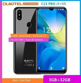 Перейти на Алиэкспресс и купить Смартфон OUKITEL, 3 ГБ ОЗУ, 32 Гб ПЗУ, C15 Pro, 6,088 дюймов, Android 9,0, Pie, MT6761, водная капля, отпечаток пальца, распознавание лица, 5G, WiFi, мобильный телефон