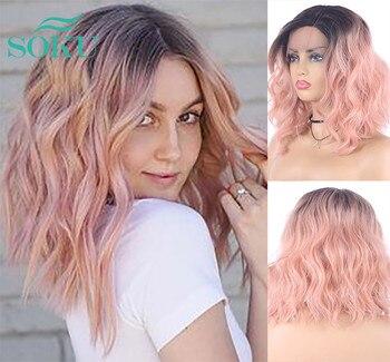 Ombre Pink Blonde Synthetic Lace Wigs Natural Wave Shoulder Length Short Bob For Women SOKU L Part Black