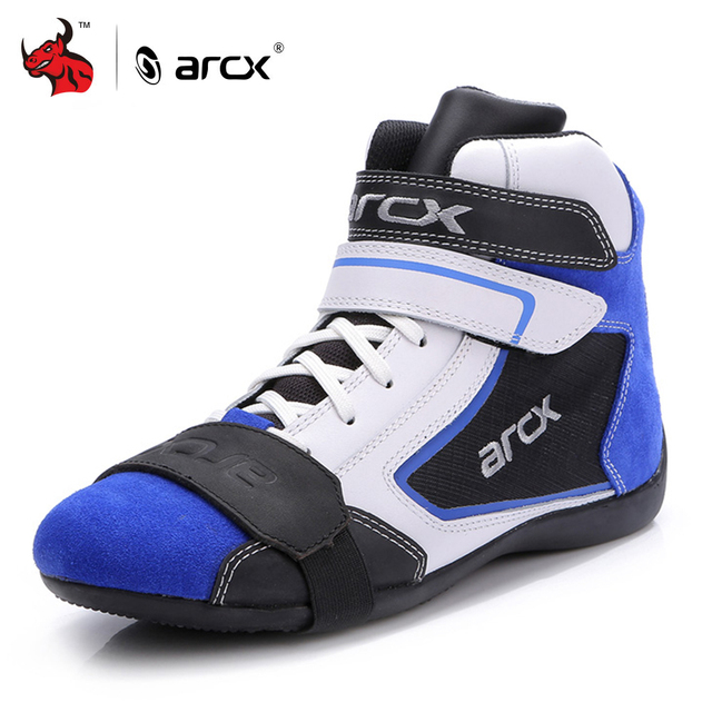 ARCX Motorcycle Boots Men Motorcycle Shoes Moto Riding Boots Breathable Four Seasons Motorbike Ankle Shoes Blue Motocross Boot #