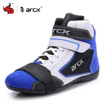 ARCX buty motocyklowe męskie buty motocyklowe Moto buty jeździeckie oddychające cztery pory roku motocyklowe buty do kostki niebieski Motocross Boot # tanie i dobre opinie Poliestru i nylonu ANKLE Unisex L60605 Black Red Blue EU 39 40 41 42 43 44 45 Suede Leather And BK Mesh Cloth Natural Rubber Sole