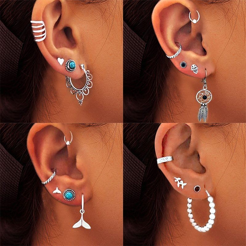 17KM PUNK Gun Shape Earring For Women Men Vintage Silver Color Stone Rose Earrings Set Creativity Handcuffs Angel Jewelry
