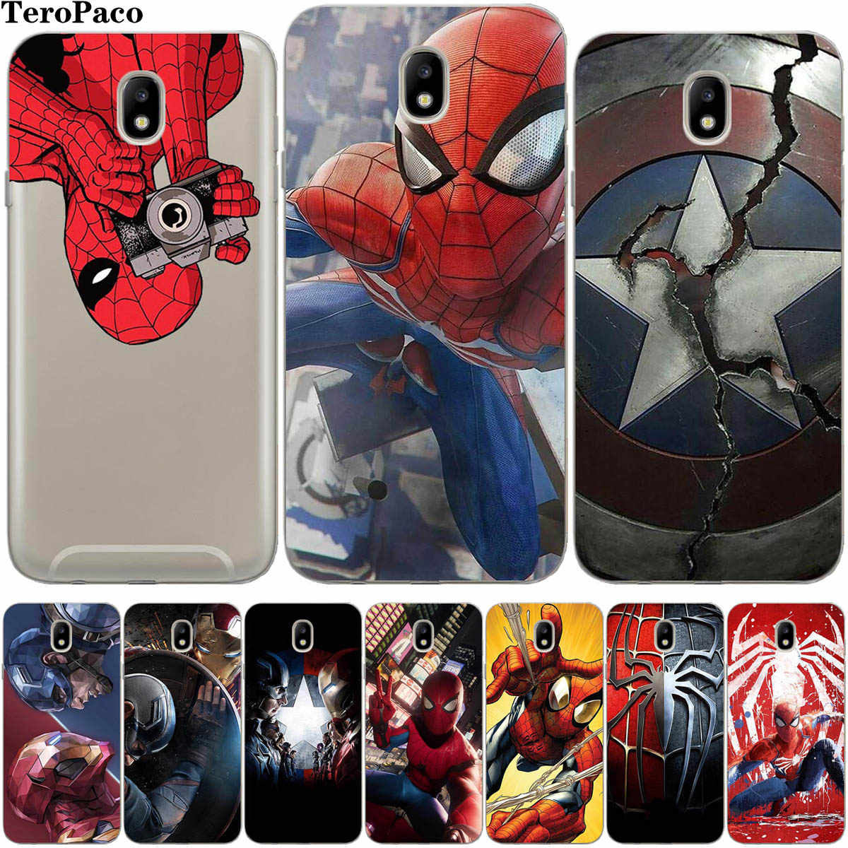 Marvel SpiderMan IronMan Phone Case For Samsung Galaxy J2 Pro J3 J4 J5 J6 J7 J8 2016 2017 EU Plus 2018 Prime Cover Etui