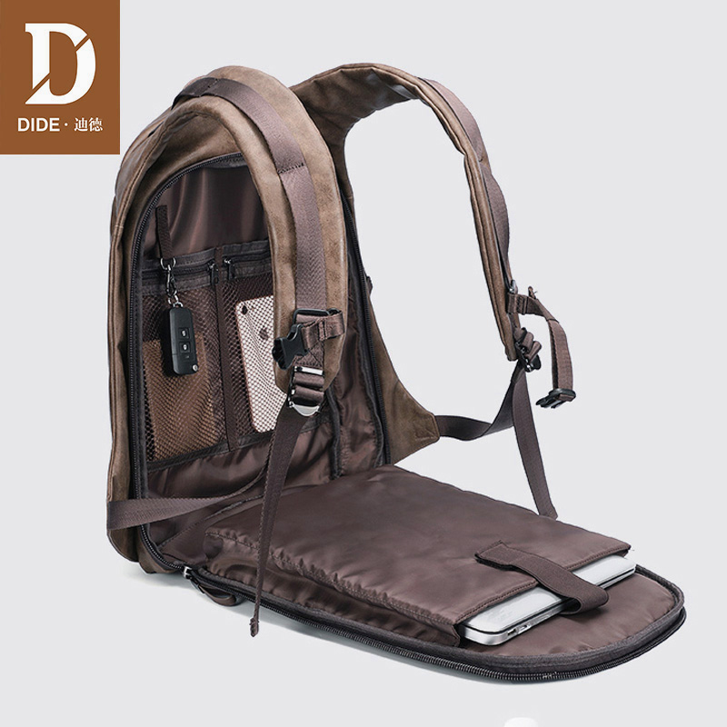 DIDE Brand USB Charge Backpack Men Travel Laptop Backpack 14/15 Inch PU Leather School Bag For Mochila Masculina Small/Large