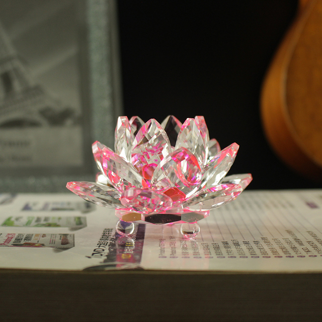 Fengshui K9 Crystal Lotus Flower Paperweight for Wedding Favor Home Decoration Holiday Gifts 1