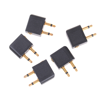 5Pcs 3.5mm pro airline airplane golden plated headphone jack plug adapter