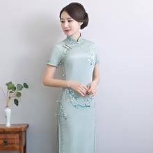 2020 Vestido De Debutante Factory Direct Sales New Retro Cut Hand Embroidered Long Silk Cheongsam Wholesale Of Daily Improved