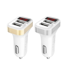 Car Charger Digital Display Dual USB Port for iPhone iPad Samsung Xiaomi Phone Charging Adapter 3.1A Car-charger Double USB high quality black dual double usb port car charger cigarette lighter for iphone ipad samsung cell phone charger for travel use