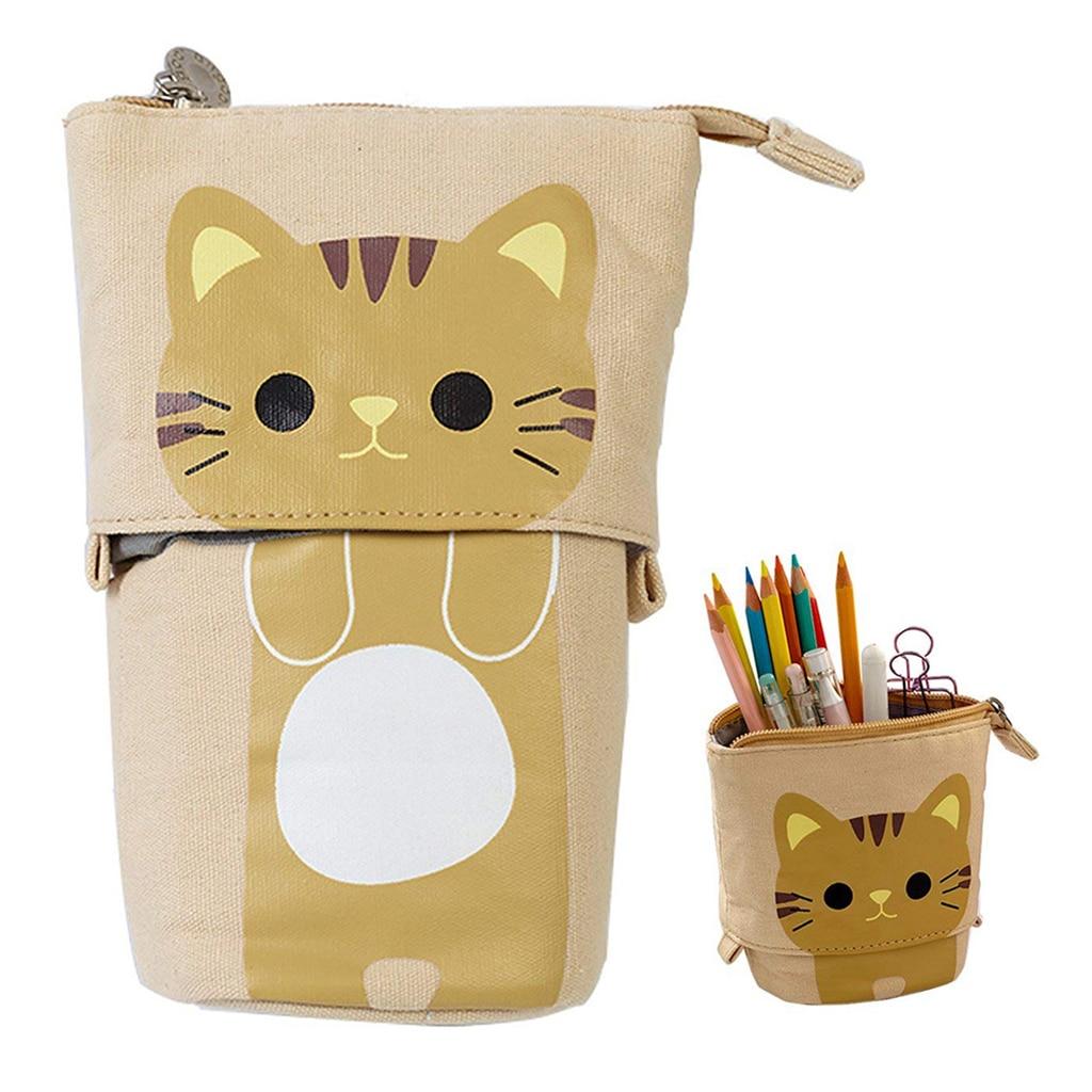 Discount°Cute Cat Pencil Case Flexible Pen Bag Zipper Storage Box Makeup Brush Pouch