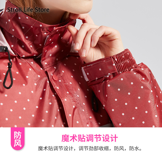 Women Rain Coat Red Long Raincoat Reflective Bike Waterproof Suit Windbreaker Women's Outdoor Hiking Gabardina Mujer Gift Ideas 4
