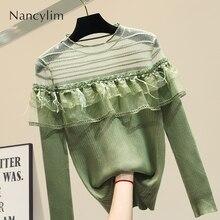Mesh Stitching Knitting Shirt New Womens Knitted Sweater Autumn Sexy Sweaters Women Wear Green White Jumper