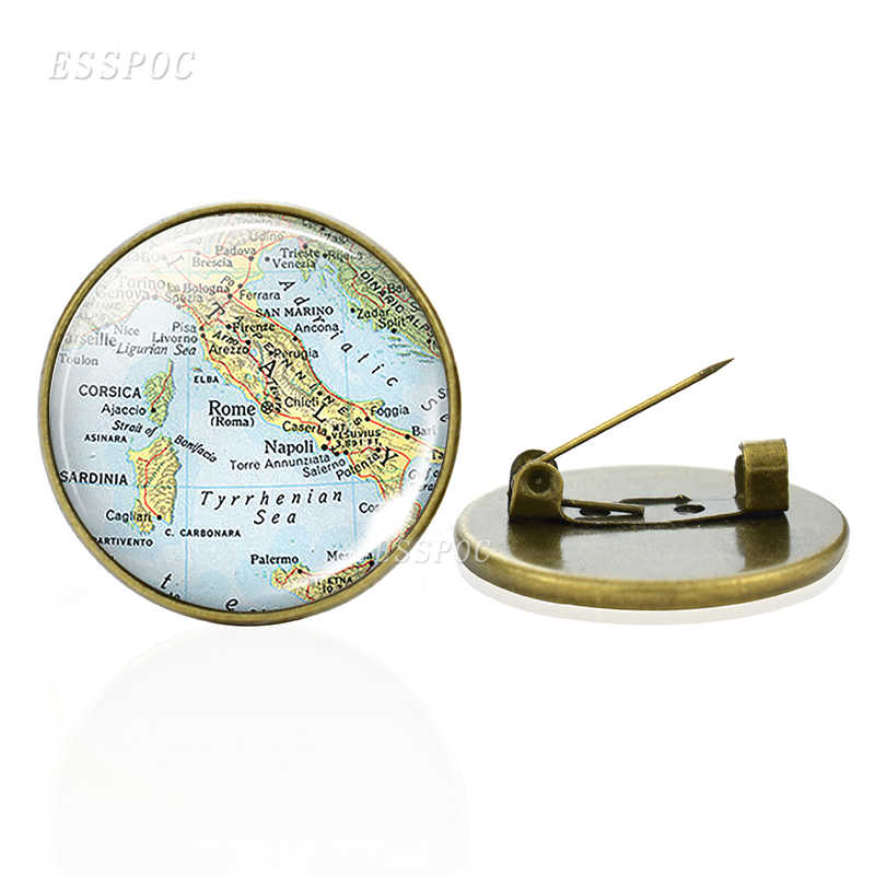 Bronze Brooches Europe Countries Map Glass Cabochon Brooches Italy France Scotland Poland Fashion Souvenir Brooches Jewelry Gift