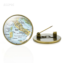 Bronze Brooches Europe Countries Map Glass Cabochon Italy France Scotland Poland Fashion Souvenir Jewelry Gift