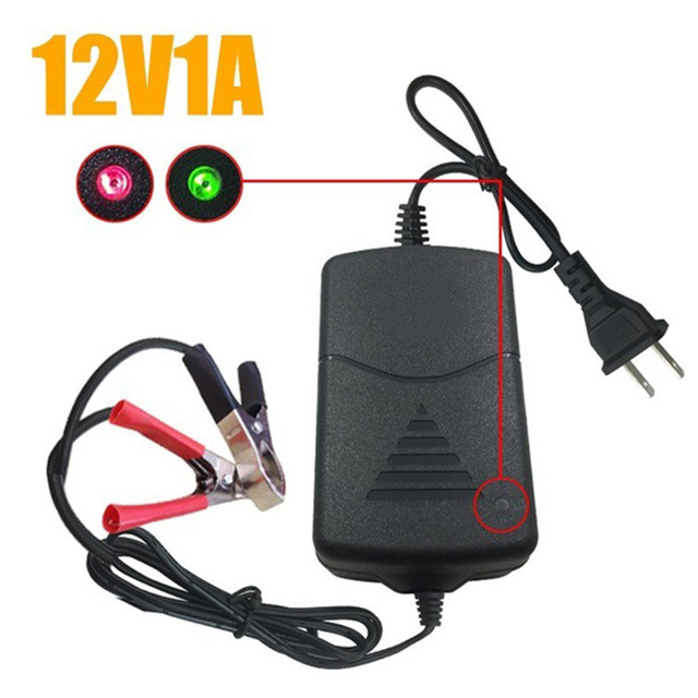 12V 1ABattery Charger Car MotorcycleEasily Installation Personal Car Elements forVRLA SLA Sealed Lead Acid Battery