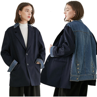 2019 New Autumn Winter Lapel Long Sleeve Blue Back Denim Split Joint Loose Big Size Jacket Women Coat Fashion Tide Patchwork