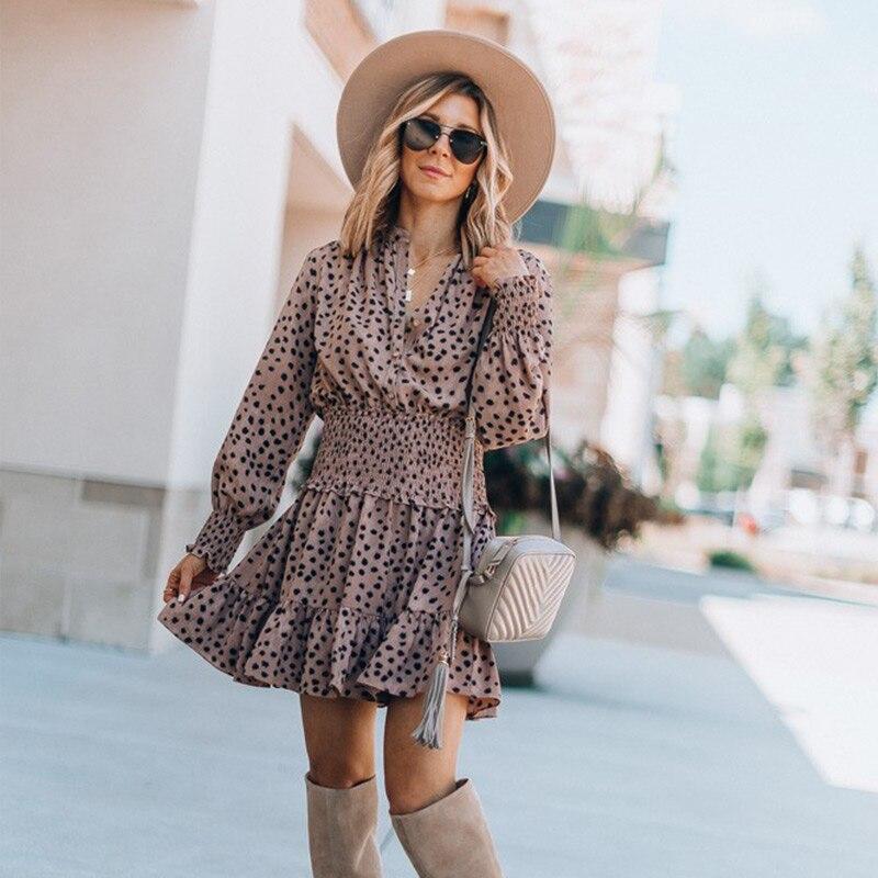 Boho plage Style Dot femmes trompette robe taille haute col en v Vintage robes 2020 printemps été en mousseline de soie à manches longues femme Vestido