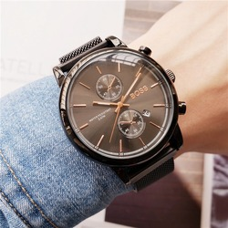 New arrival mens watches stainless steel mesh magnet strap quartz movement boss watch for men designer high quality waterproof