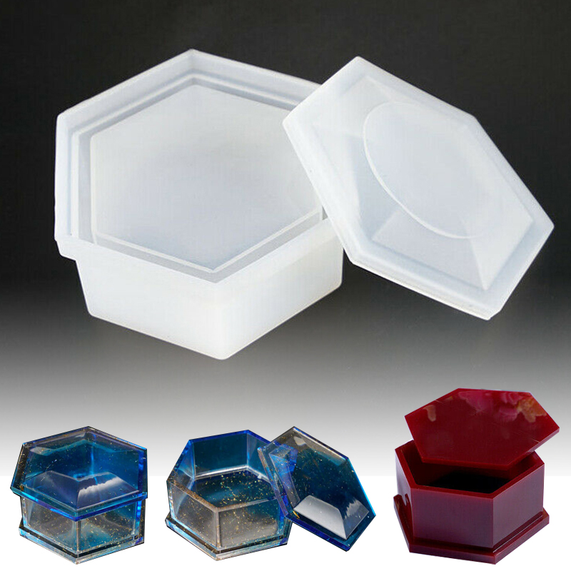 1Pc New Transparent Silicone Hexagon Jewellery Necklace Storage Box Mold Resin Casting Mould DIY Craft Tools