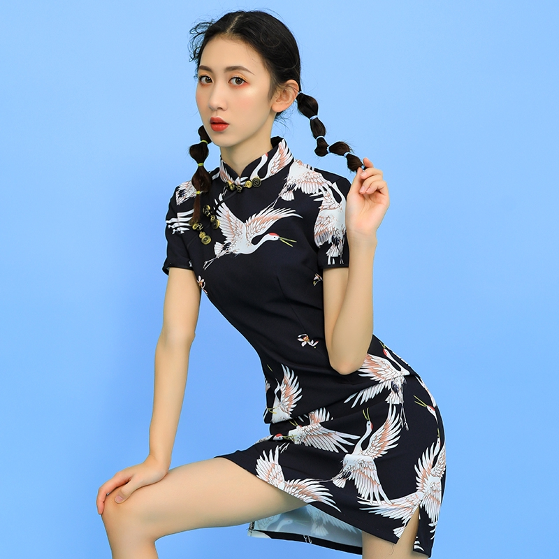 Daily Girl Of New Style Cheongsam Improvement Dress Chinese Style Black