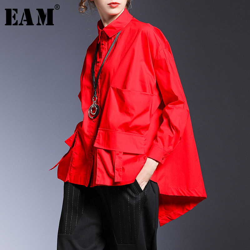 [EAM] Women Pocket Spliced Oversize Irregular Blouse New Lapel Long Sleeve Loose Fit Shirt Fashion Tide Spring Autumn 2020 1B236