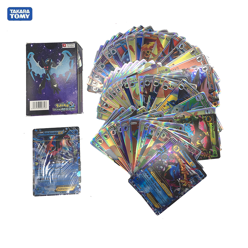 Takara Tomy Pokemon 300PCS GX  Flash Cards EX Cards Classic Plaid Flash Pokemon Card Collectible Gift Kids Toy