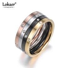 Lokaer-Anneaux de fiançailles 4 en 1 en zircone cubique, bijoux en acier titane pour femmes, bagues de mariage colorées R18016