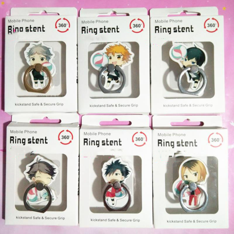 1pc Hot Sale Anime Haikyuu Finger Ring Mobile Phone Stand Phone Holder Acrylic 360 Degree Ring Stent Action Figure Toys Gift