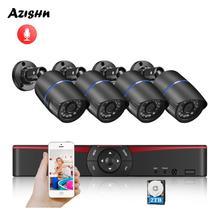 AZISHN H.265 + 5MP POE NVR CCTV 보안 시스템 오디오 5MP/3MP/2MP IP 카메라 P2P Onvif 야외 비디오 감시 키트 PC 및 전화