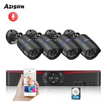 AZISHN H.265 + 5MP POE NVR CCTV نظام الأمن الصوت 5MP/3MP/2MP IP كاميرا P2P Onvif طقم مراقبة الفيديو في الهواء الطلق الكمبيوتر والهاتف