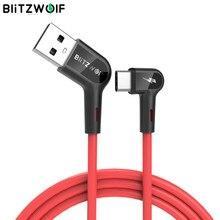 Blitzwolf BW-AC1 USB A do typu C 3A kabel danych do ładowania 90 ° kąt prosty do telefonu komórkowego grając w gry na telefony komórkowe
