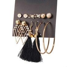 Earrings set Long Tassel earrings gold Geometr for women Stud  Pearl Dangle Earring