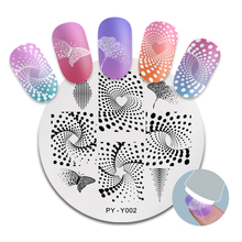 PICT YOU Nail Stamping Plates Round Stainless Steel Geometric Butterfly Image Design Stamp Template DIY Nail Art Tools Y002