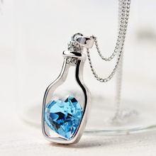 Ladies Fashion Popular Crystal Necklace Heart Love Chain Necklaces & Pendants For Women Gift Love Drift Bottles Necklace 2019 21(China)